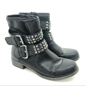 Mossimo black combat ankle boots silver buckles